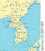 Купить «Korean Peninsula Political Map», иллюстрация № 21657187 (c) PantherMedia / Фотобанк Лори