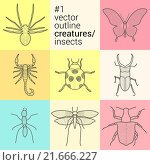 Купить «set outline, planimetric, contour, vector insects icons eps collection creatures kit», фото № 21666227, снято 21 июня 2018 г. (c) PantherMedia / Фотобанк Лори