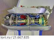Модель турбореактивного двигателя самолета в разрезе. Стоковое фото, фотограф Игорь Долгов / Фотобанк Лори