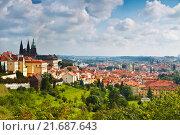 Купить «View over historic center of Prague with castle, Czech Republic», фото № 21687643, снято 10 сентября 2014 г. (c) Наталья Волкова / Фотобанк Лори