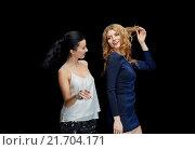 Купить «happy young women dancing at night club disco», фото № 21704171, снято 21 ноября 2015 г. (c) Syda Productions / Фотобанк Лори