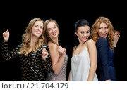 Купить «happy young women dancing at night club disco», фото № 21704179, снято 21 ноября 2015 г. (c) Syda Productions / Фотобанк Лори
