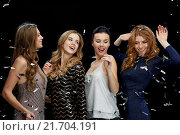 Купить «happy young women dancing at night club disco», фото № 21704191, снято 21 ноября 2015 г. (c) Syda Productions / Фотобанк Лори