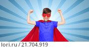 Купить «boy in red super hero cape and mask showing fists», фото № 21704919, снято 6 ноября 2015 г. (c) Syda Productions / Фотобанк Лори