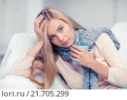 Купить «diseased woman with cup of tea», фото № 21705299, снято 30 марта 2013 г. (c) Syda Productions / Фотобанк Лори