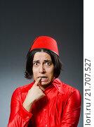 Купить «Man wearing red fez hat», фото № 21707527, снято 30 сентября 2015 г. (c) Elnur / Фотобанк Лори