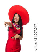 Купить «Woman in red dress with sombrero», фото № 21707547, снято 2 октября 2015 г. (c) Elnur / Фотобанк Лори