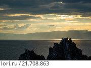 Закат на берегу острова Ольхон (озеро Байкал) с чайкой, летящей над скалой Шаманкой. Стоковое фото, фотограф Иван Рочев / Фотобанк Лори