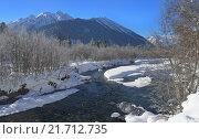 Купить «Горный пейзаж с рекой в зимний солнечный день», фото № 21712735, снято 31 января 2016 г. (c) александр жарников / Фотобанк Лори