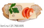 Ржаной хлеб с сыром, петрушкой, помидором. Стоковое фото, фотограф Татьяна Зарубо / Фотобанк Лори