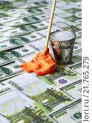 Отмывание денег. Купюры, ведро с водой и швабра с тряпкой. Стоковое фото, фотограф ирина реброва / Фотобанк Лори