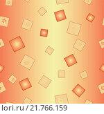 Цветы и квадраты на оранжево-желтом, бесшовный фон. Стоковая иллюстрация, иллюстратор Костенко Юлия / Фотобанк Лори
