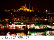 Купить «ISTANBUL, TURKEY - MAY 16, 2015: The historical center of Istanbul and Sulaymaniyah mosque in the night. View from the Golden Horn», фото № 21796467, снято 16 мая 2015 г. (c) Наталья Волкова / Фотобанк Лори