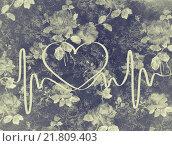 Купить «Абстрактное сердце на цветочном сером фоне», иллюстрация № 21809403 (c) Демченко Елена / Фотобанк Лори