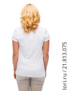 Купить «woman in blank white t-shirt from back», фото № 21813075, снято 27 ноября 2015 г. (c) Syda Productions / Фотобанк Лори