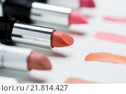 Купить «close up of lipsticks range», фото № 21814427, снято 19 ноября 2015 г. (c) Syda Productions / Фотобанк Лори