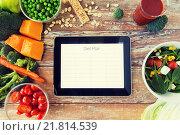 Купить «close up of diet plan on tablet pc and vegetables», фото № 21814539, снято 11 марта 2015 г. (c) Syda Productions / Фотобанк Лори
