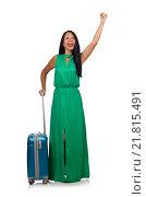 Купить «Woman with suitcase isolated on white», фото № 21815491, снято 10 августа 2015 г. (c) Elnur / Фотобанк Лори