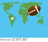 Бейсбольный мяч летит на фоне карты мира. Стоковая иллюстрация, иллюстратор Фомичёв Роман / Фотобанк Лори