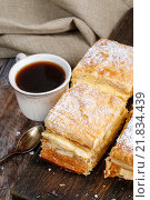 Купить «A Polish cream pie made of two layers of puff pastry», фото № 21834439, снято 15 августа 2018 г. (c) BE&W Photo / Фотобанк Лори
