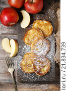 Купить «Apple fritters. Party and festive dessert», фото № 21834739, снято 19 февраля 2019 г. (c) BE&W Photo / Фотобанк Лори