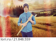 Купить «Composite image of portrait of serious hipster holding axe», фото № 21848559, снято 12 июля 2020 г. (c) Wavebreak Media / Фотобанк Лори