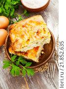 Купить «Пирог с капустой и яйцами в тарелке на столе», фото № 21852635, снято 16 февраля 2016 г. (c) Надежда Мишкова / Фотобанк Лори