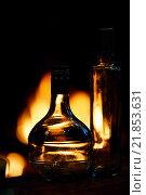 Купить «Две прозрачные стеклянные бутылки перед огнем», фото № 21853631, снято 24 марта 2013 г. (c) Стивен Жингель / Фотобанк Лори