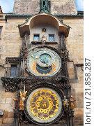 Купить «The Astronomical Clock at Old City Hall at the Market Square in Prague, Czech Republc», фото № 21858287, снято 7 сентября 2014 г. (c) Наталья Волкова / Фотобанк Лори