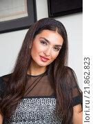 Купить «Портрет красивой девушки модели кавказкой  внешности», фото № 21862823, снято 26 октября 2015 г. (c) Emelinna / Фотобанк Лори