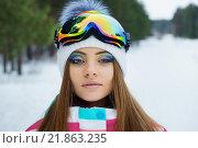 Молодая девушка в спортивных очках. Стоковое фото, фотограф Станислав Симонов / Фотобанк Лори