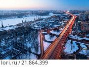 Вечерний вид на Ленинградский проспект, Москва (2016 год). Стоковое фото, фотограф Сергей Алимов / Фотобанк Лори