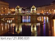 Мост Ломоносова на реке Фонтанке ночью в Санкт-Петербурге (2015 год). Редакционное фото, фотограф Максим Мицун / Фотобанк Лори