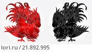 Купить «Боевой петух на белом фоне в красном и черном вариантах - символ 2017 года по восточному гороскопу», иллюстрация № 21892995 (c) Анастасия Некрасова / Фотобанк Лори
