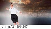 Купить «Composite image of businesswoman performing a balancing act», фото № 21896247, снято 18 февраля 2019 г. (c) Wavebreak Media / Фотобанк Лори