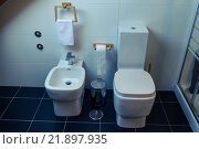 Купить «Унитаз и биде в современной ванной комнате», фото № 21897935, снято 11 января 2016 г. (c) Discovod / Фотобанк Лори