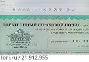Купить «Электронный страховой полис на мониторе», эксклюзивное фото № 21912955, снято 23 февраля 2016 г. (c) Volgograd.travel / Фотобанк Лори