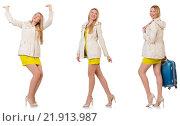 Купить «Woman in various poses isolated on white», фото № 21913987, снято 2 марта 2014 г. (c) Elnur / Фотобанк Лори