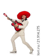 Купить «Funny mexican in suit holding guitar isolated on white», фото № 21914275, снято 23 мая 2015 г. (c) Elnur / Фотобанк Лори