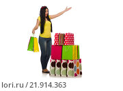 Купить «Woman with shopping bags isolated on white», фото № 21914363, снято 28 мая 2015 г. (c) Elnur / Фотобанк Лори