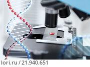 Купить «close up of microscope and blood sample in lab», фото № 21940651, снято 4 декабря 2014 г. (c) Syda Productions / Фотобанк Лори