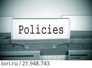Купить «Policies Register Folder Index green with spotlight», фото № 21948743, снято 20 мая 2019 г. (c) PantherMedia / Фотобанк Лори