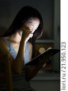 Купить «Woman feeling eye pain of using tablet», фото № 21950123, снято 20 февраля 2019 г. (c) PantherMedia / Фотобанк Лори