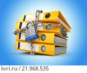 File folder and chain with lock. Data and privacy security. Information protection. Стоковое фото, фотограф Maksym Yemelyanov / Фотобанк Лори