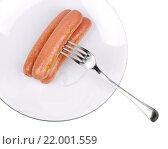Три вкусные сосиски на белой тарелке. Стоковое фото, фотограф Татьяна Зарубо / Фотобанк Лори