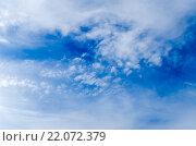 Купить «Голубое небо с облаками», фото № 22072379, снято 27 сентября 2015 г. (c) Валерий Апальков / Фотобанк Лори