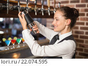 Купить «Barmaid shaking a cocktail», фото № 22074595, снято 24 октября 2015 г. (c) Wavebreak Media / Фотобанк Лори