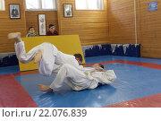 Купить «Борьба дзюдо», эксклюзивное фото № 22076839, снято 6 марта 2016 г. (c) Дмитрий Неумоин / Фотобанк Лори