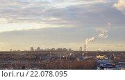 Купить «Закат над городом Москва. Вид с юго-восточной стороны города. Таймлапс. 4K», видеоролик № 22078095, снято 6 февраля 2016 г. (c) Вадим Пономаренко / Фотобанк Лори