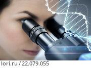 Купить «close up of scientist looking to microscope in lab», фото № 22079055, снято 4 декабря 2014 г. (c) Syda Productions / Фотобанк Лори